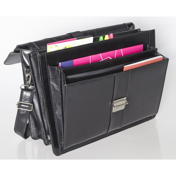 "Falcon 15.6"" Leather Laptop Briefcase - FI2577 Black"