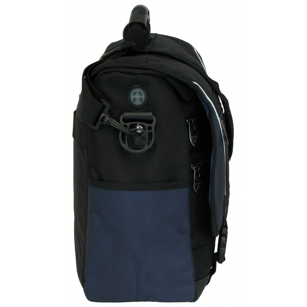 "Falcon 17"" Laptop Courier Bag - FI2593 Black with Blue Trim"