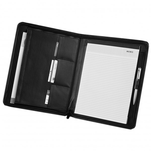 Falcon A4 Bonded Leather Zip Conference Folder - FI6509 Black