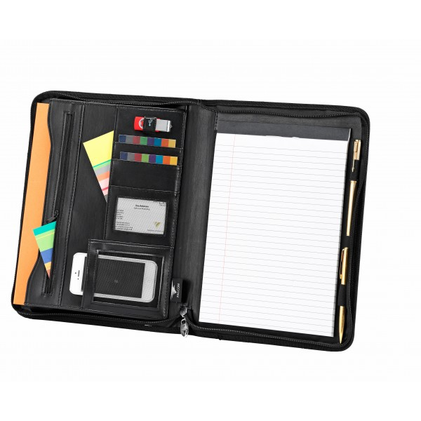 Falcon A4 Faux Leather Zip Around Conference Folder - FI6520 Black