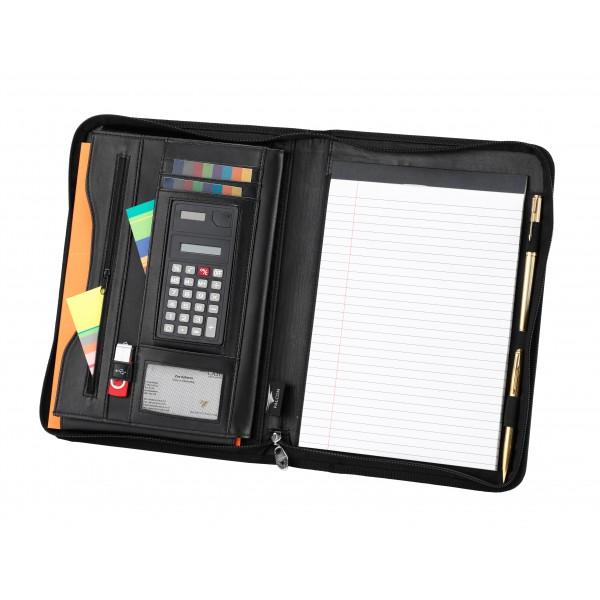 A4 Falcon Zip Around Conference Folder with Calculator - FI6521 Black