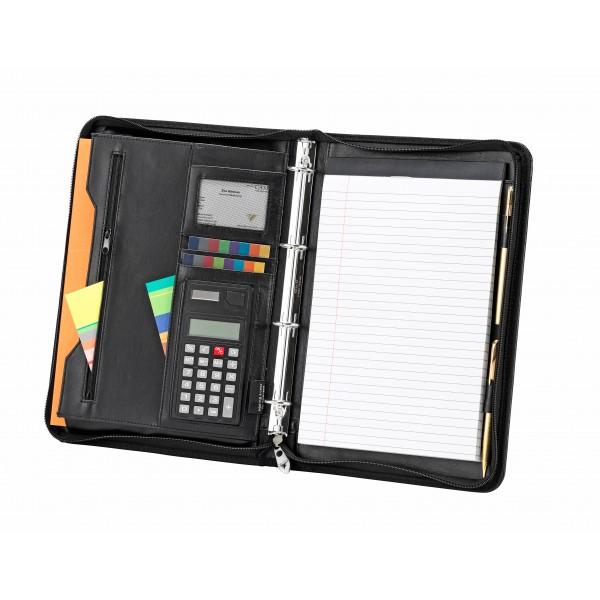 A4 Falcon Zipped Folio/4 Ring Binder with Calculator - FI6528 Black