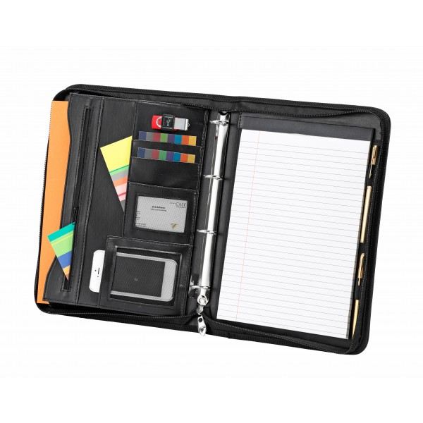 Falcon A4 Faux Leather Conference Folder With Ring Binder - FI6633 Black
