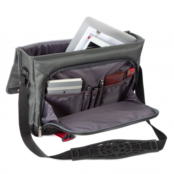 "i-stay 15.6"" Laptop/Tablet Messenger Bag is0501 Grey, Black & Red"