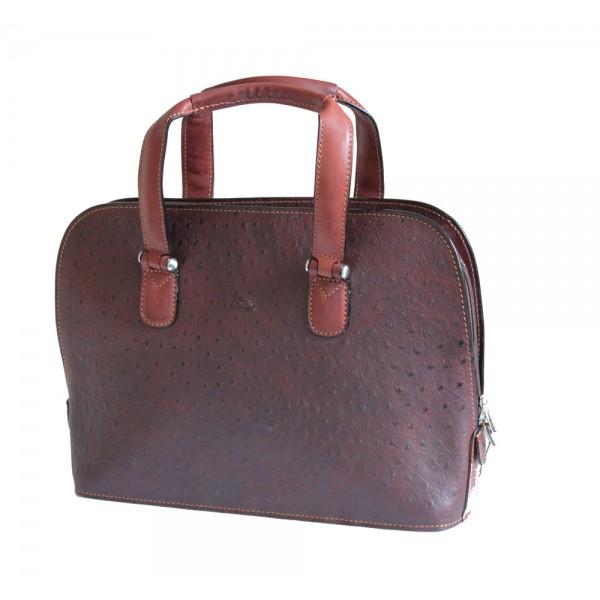 Tony Perotti Italian Ostrich Leather Handbag - TP00490 Brown