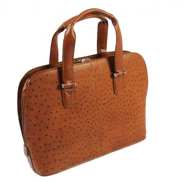 Tony Perotti Italian Ostrich Leather Handbag - TP00490 Cognac