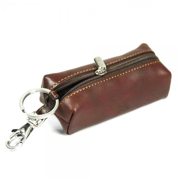 Tony Perotti Italian Vegetale Leather Zip Key/Coin Holder - TP0109 Brown
