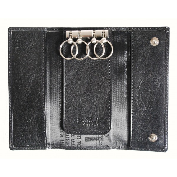 Tony Perotti Italian Versilia Leather 4 Ring Key Case - TP0344 Black