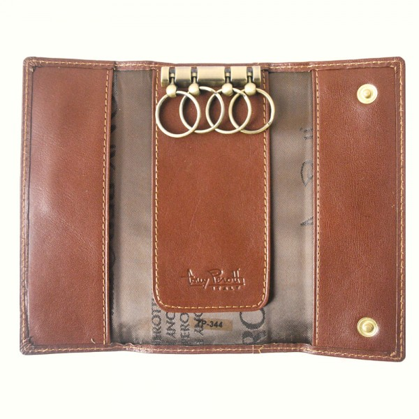Tony Perotti Italian Versilia Leather 4 Ring Key Case - TP0344 Brown