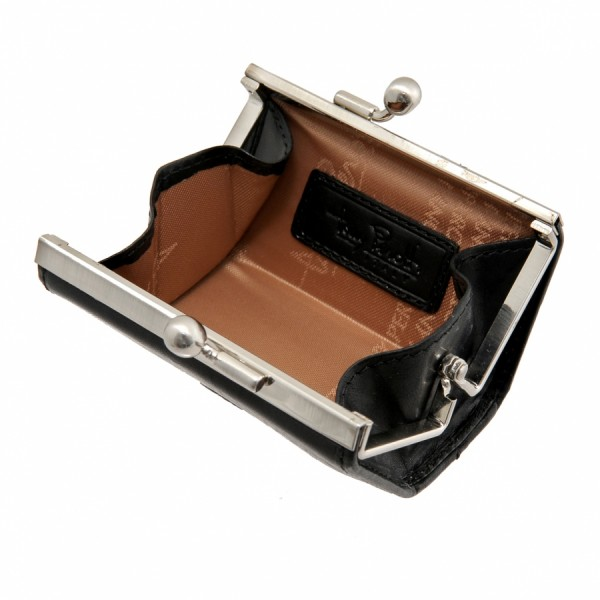 Tony Perotti Italian Versilia Leather Clip Coin holder - TP0352 Black