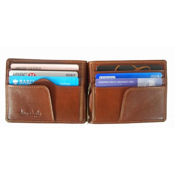 Tony Perotti Italian Versilia Leather Clip Wallet - TP2312 Brown