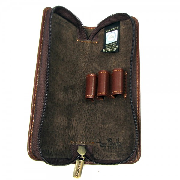 Tony Perotti Italian Vegetale Leather 3 Pen Holder - TP2571 Brown
