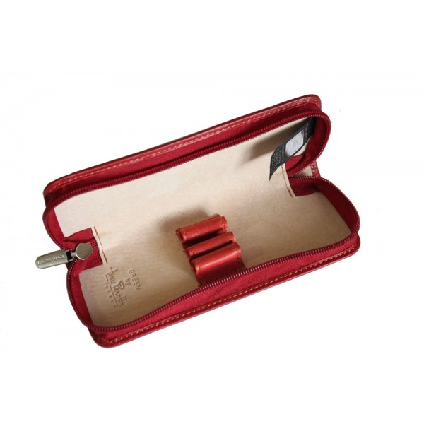 Tony Perotti Italian Vegetale Leather 3 Pen Holder - TP2571 Red