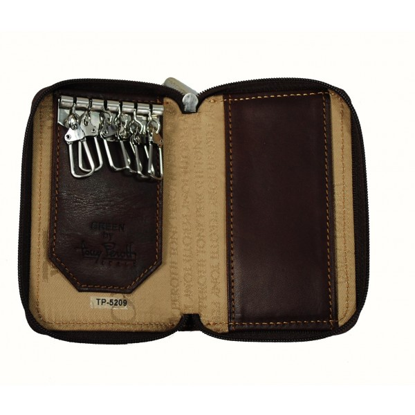 Tony Perotti Italian Vegetale Leather Zip Around 6 Key Holder - TP5209 Brown