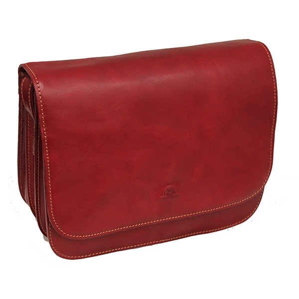 Tony Perotti Italian Vegetale Leather Handbag with Shoulder Strap - TP8100G Red