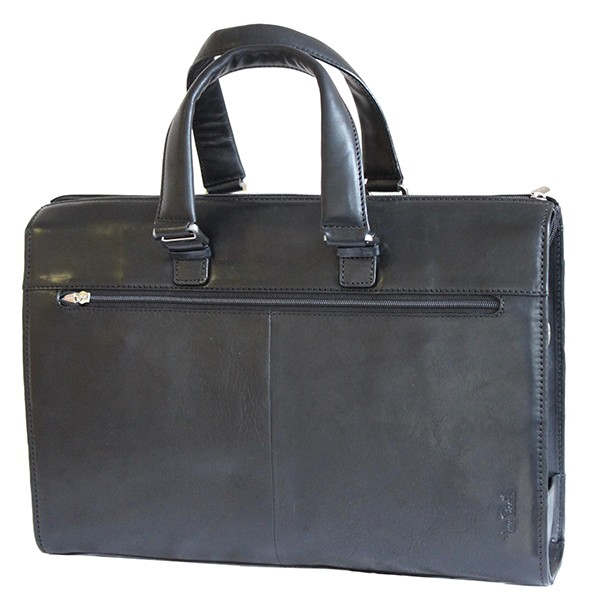 Tony Perotti Italian Vegetale Leather Classic Briefcase - TP9093 Black