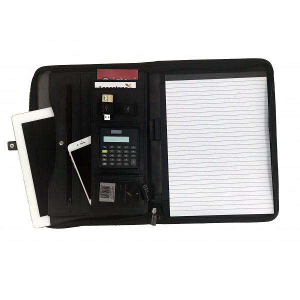 Falcon A4 iPad/Tablet Faux Leather Zip Around Conference Folder With Calculator - FI6521 Black