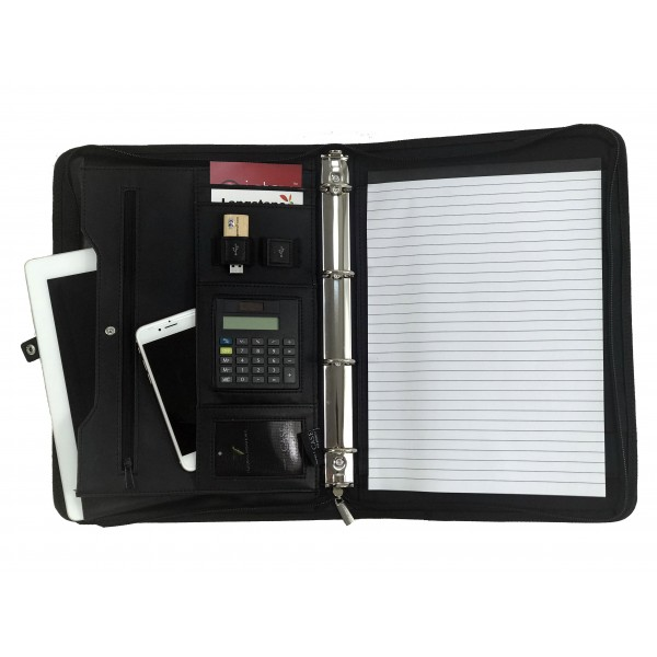 Falcon A4 iPad/Tablet Conference Folder Ring Binder With Calculator - FI6528 Black