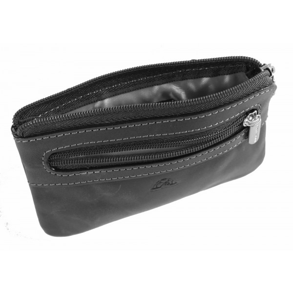 Tony Perotti Italian Vegetale Leather Zip Key Coin Purse - TP0359 Black