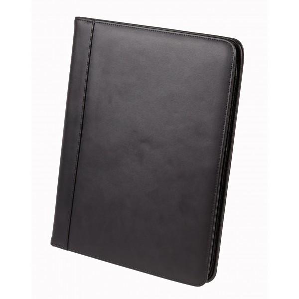 Falcon A4 Bonded Leather Zip Conference Folder - FI6509 Black