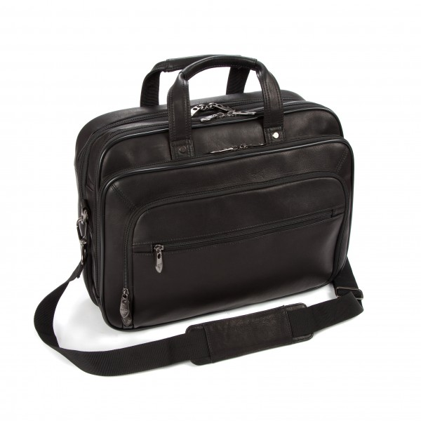 "Falcon Colombian Leather 15.6"" Laptop Briefcase - FI6703 Black"
