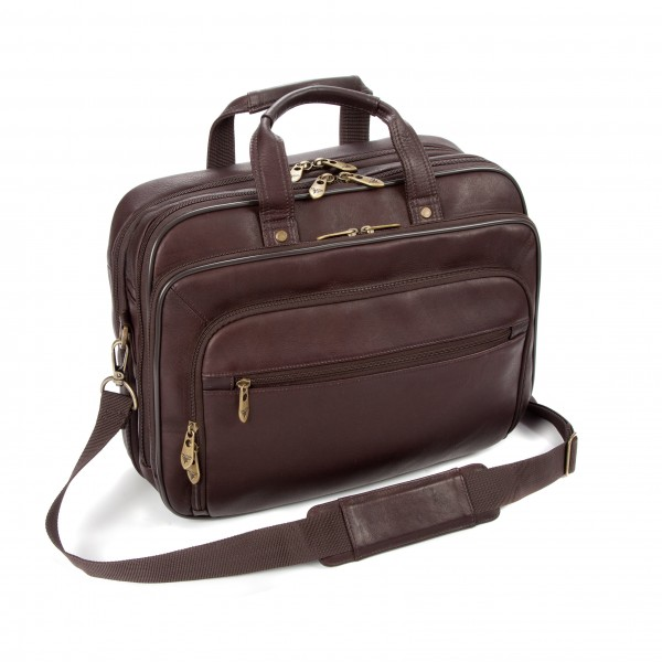 "Falcon Colombian Leather 15.6"" Laptop Briefcase - FI6704 Brown"
