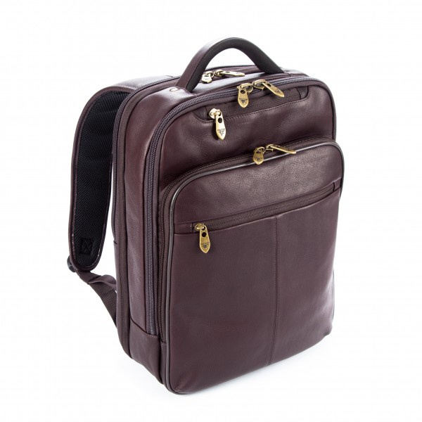"Falcon Colombian Leather 15.6"" Laptop Backpack - FI6706 Brown"