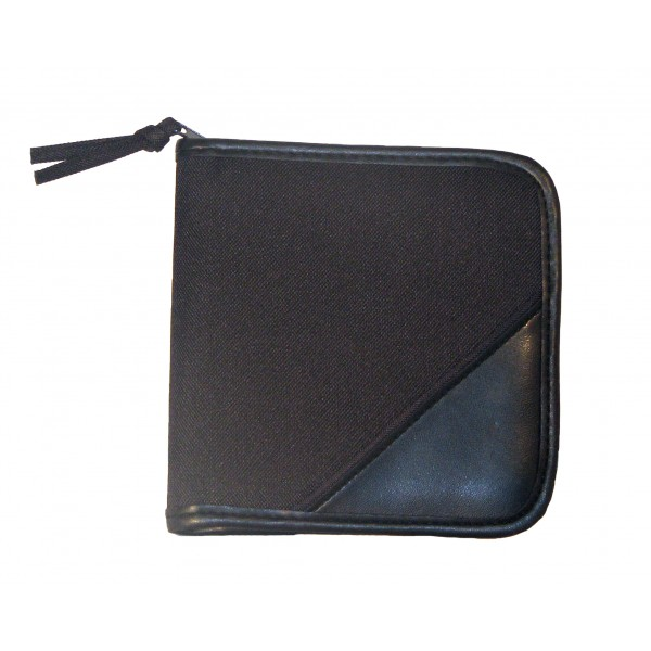 Falcon Polyester & Faux Leather CD/DVD Holder - FI7920 Black