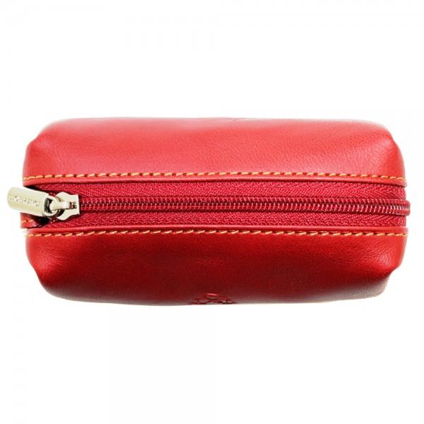 Tony Perotti Italian Vegetale Leather Zip Key/Coin Holder - TP0109 Red