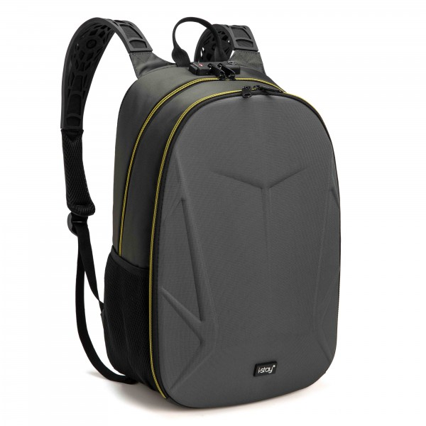 "i-stay 15.6"" Laptop Gaming Backpack with USB & Anti-Theft - Grey/Yellow"
