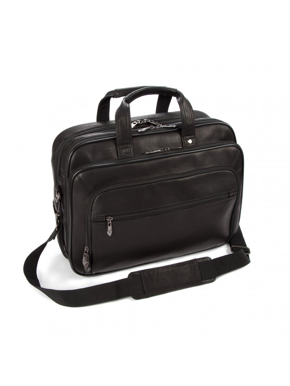 "Falcon Colombian Leather 15.6"" Laptop Briefcase - FI6703 Black"