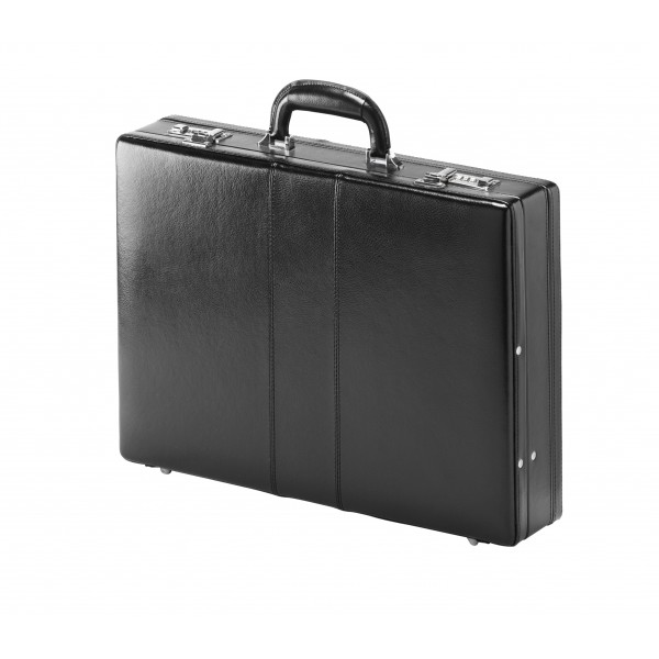 Falcon Bonded Leather Expandable Attaché Case - FI2006L Black