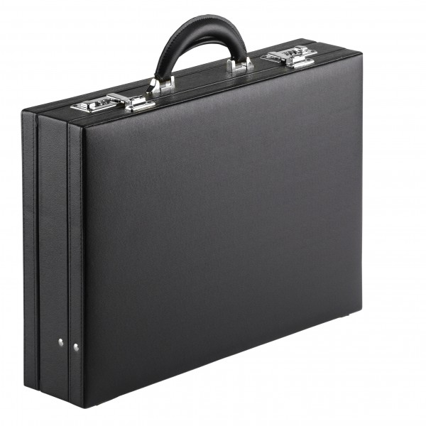 Falcon Faux Leather Expandable Attaché Case - FI2284 Black