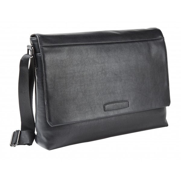 "Falcon Faux Leather 15.6"" Laptop Messenger Bag - FI2540 Black"