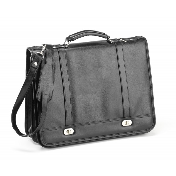 Falcon Faux Leather Briefcase - FI2568 Black