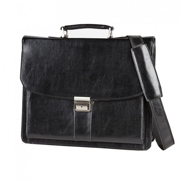 "Falcon 15.6"" Leather Laptop Briefcase - FI2577 Black"