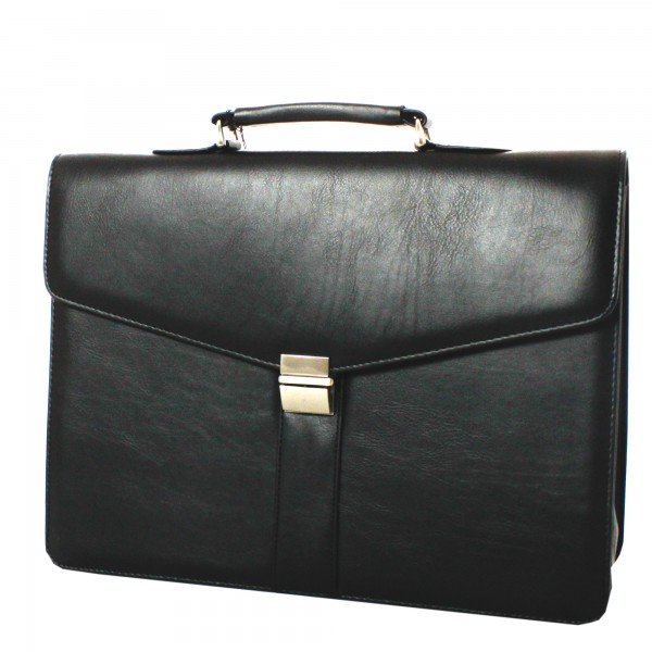 Falcon Faux Leather Double Gusset Briefcase - FI2580 Black