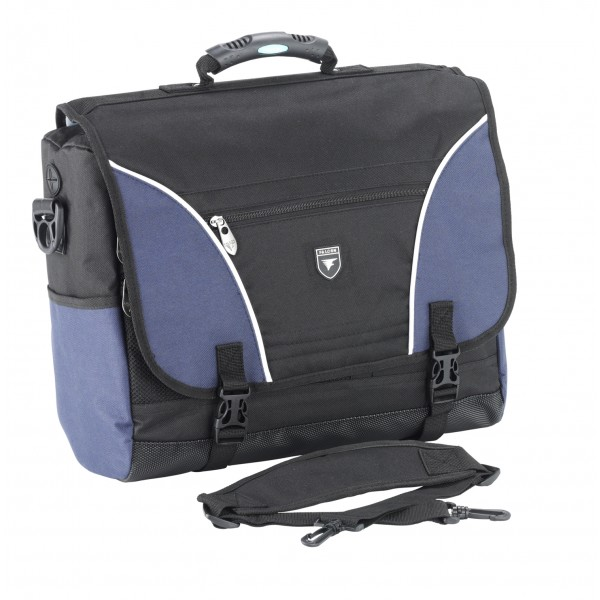 "Falcon 16"" Laptop Courier Bag - FI2593 Black with Blue Trim"