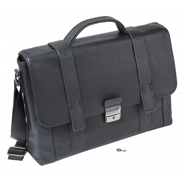 "Falcon Faux Leather 15.6"" Laptop Briefcase - FI2595 Black"