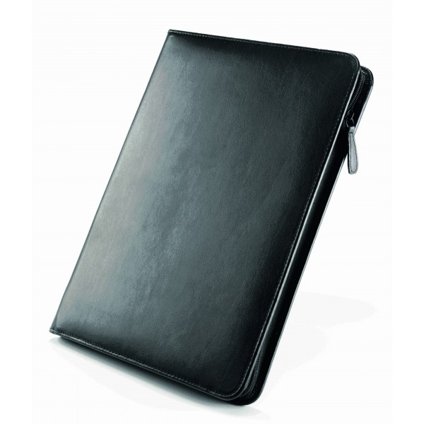 Falcon A4 iPad/Tablet Leather Conference Folder With Calculator - FI6512BL Black