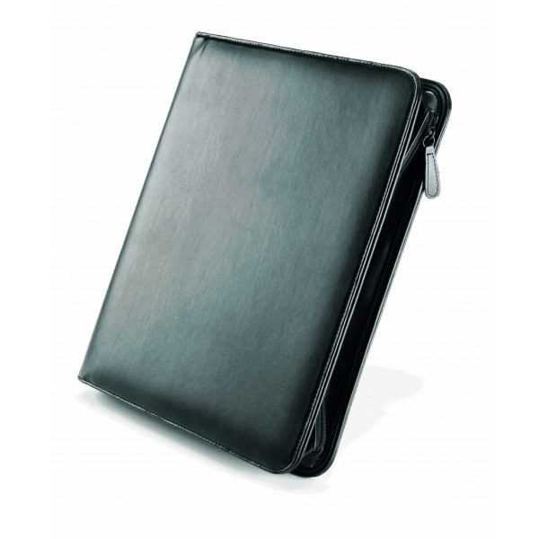 Falcon A4 Leather iPad/Tablet Zip Close 4 Ring Binder Conference Folder - FI6518BL Black