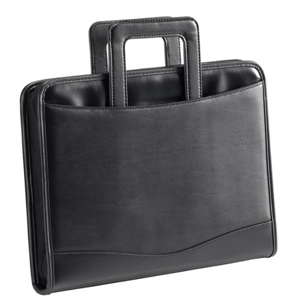 Falcon A4 Faux Leather Ring Binder Conference Folder With Drop Down Handles - FI6669 Black