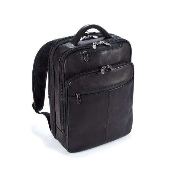 "16"" Falcon Colombian Leather Laptop Backpack - FI6705 Black"