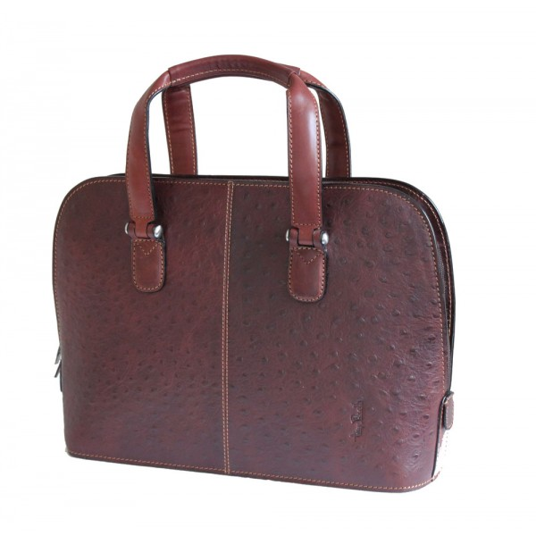 Tony Perotti Italian Ostrich Leather Handbag - TP00490 Brown