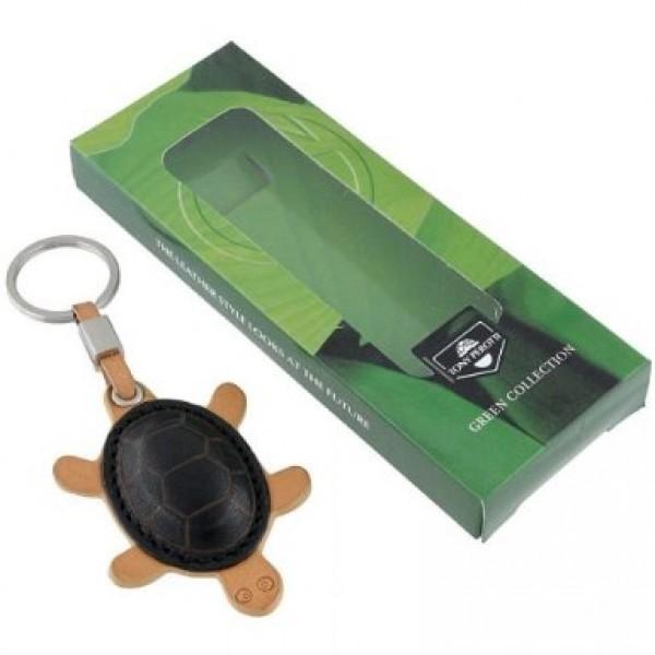 Tony Perotti Italian Vegetale Leather Turtle Key Chain - TP0127 Black