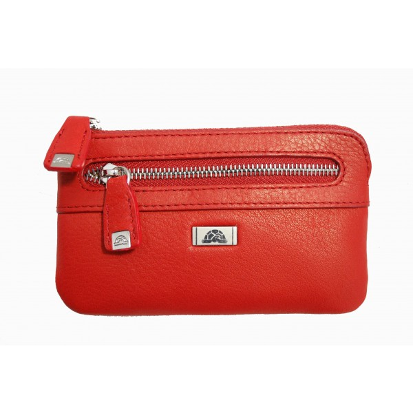 Tony Perotti Italian Contatto Soft Leather Zip Key Coin Purse - TP0359C Red