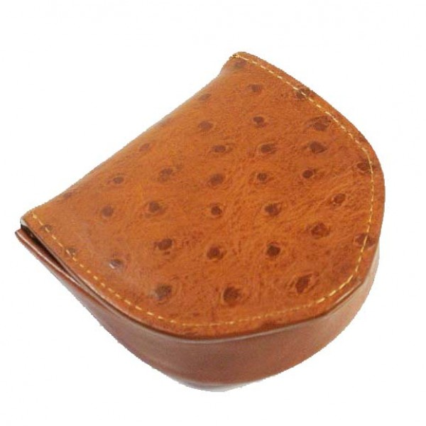 Tony Perotti Italian Ostrich Leather Coin Tray Purse - TP21320 Cognac