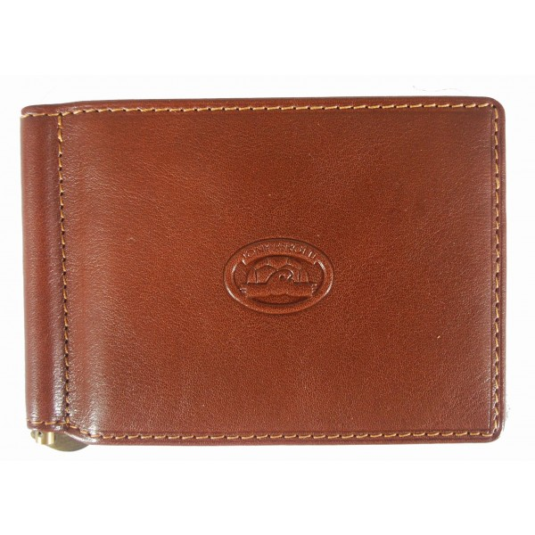 Tony Perotti Italian Versilia Leather Clip Wallet - TP2312 Brown