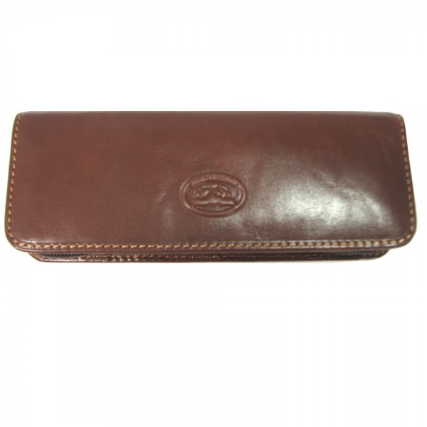 Tony Perotti Italian Vegetale Leather 3 Pen Holder - TP2571 Brown