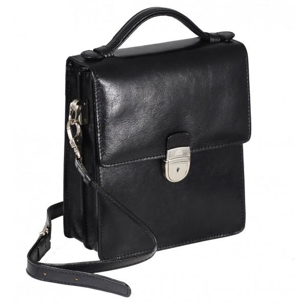 Tony Perotti Italian Versilia Leather Satchel - TP8019 Black